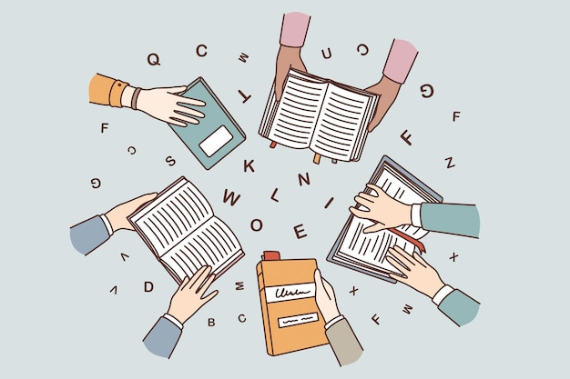 Education, learning and reading concept. top view of human hands holding books learning studying with letters flying over vector illustration