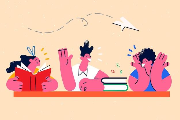 교육, 학습, 책 개념으로 공부합니다. 친구 학생 그룹 및 교사 앉아 책을 읽고 문자와 알파벳을 함께 벡터 일러스트 레이 션 학습