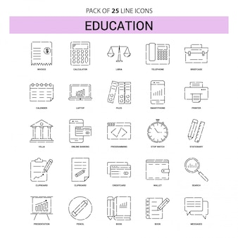 Education Line Icon Set - 25 Dashed Outline Style