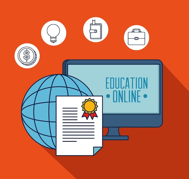 Education on line with desktop display