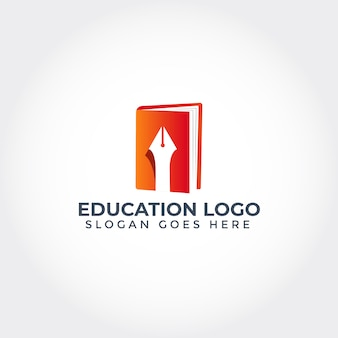 Education logo with book and pen