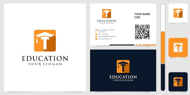 Education logo with business card design vector premium