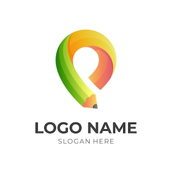 Education logo with pencil , location and pencil combination