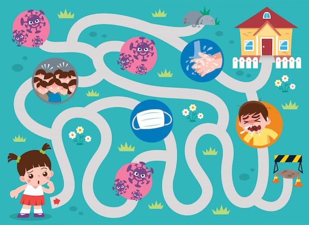 교육 미로 게임 집에 아이. 아이들을위한 게임. 바이러스 개념