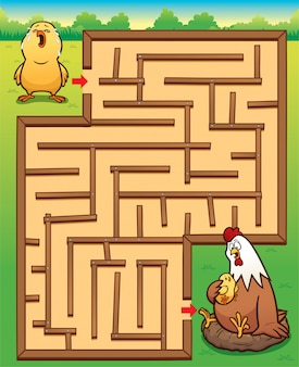 Education maze game little chick to hen