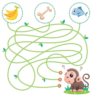 Education maze game monkey with food. game for kids