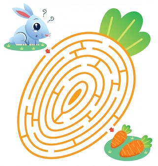 Education maze game rabbit to carrot. game for kids