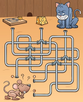 Education maze game rat with food