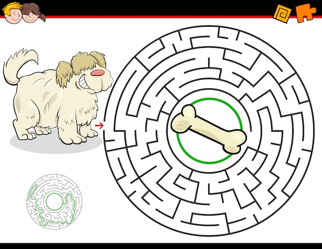 Education maze or labyrinth game with dog and bone