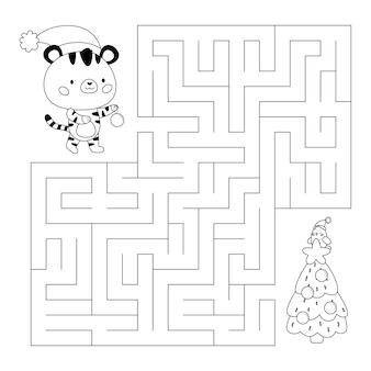 호랑이와 크리스마스 트리가 있는 교육 미로 또는 미로 게임