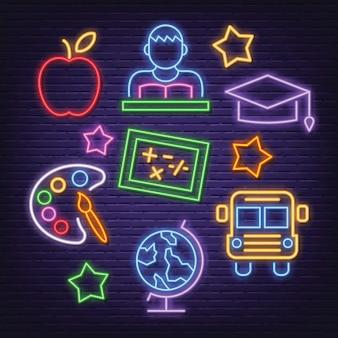 Education neon icons set