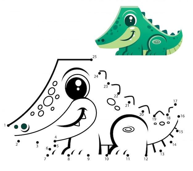 Игра образование номера. игра точка в точку. мультфильм крокодил