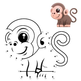 Игра образование номера. игра точка в точку. мультфильм обезьяна