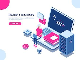 Обучение программированию, работа с молодым человеком на ноутбуке, онлайн-обучение и интернет-курс.
