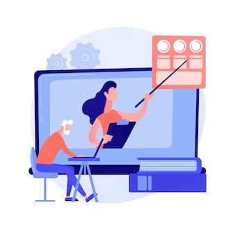 Education for older people. senior couple of people watching online courses on laptop, getting academic degree. webinar, internet seminar. vector isolated concept metaphor illustration