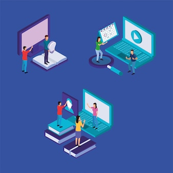 Обучение на линии технологии с ноутбуком и настольным компьютером