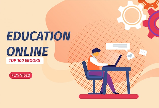 Education online banner with button. student with laptop learning distant via internet.