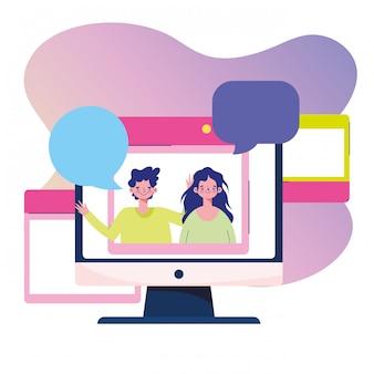 Education online, computer students website speech bubble