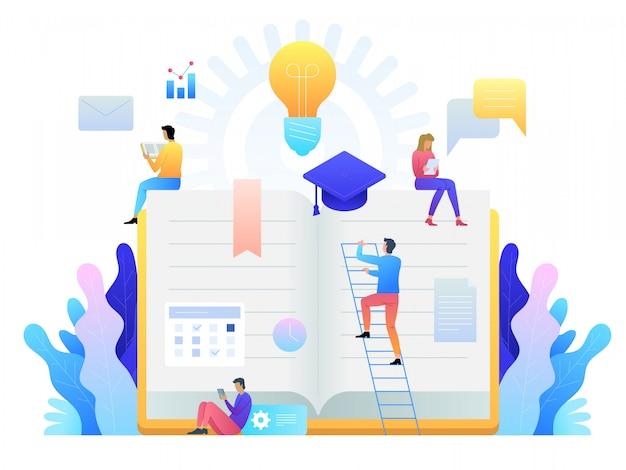 教育オンラインコンセプトテクノロジー。電子書籍、インターネットコース、卒業プロセス。フラットスタイルのイラスト。