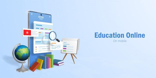 教育オンラインコンセプト、オンライン教育のためのwebバナー、スマートフォンを使用したeラーニング