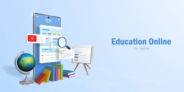Education online concept, web banner for online education, e-learning by using smartphone