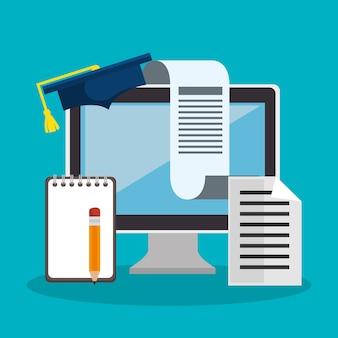 教育オンラインフラットアイコン