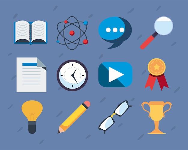 Набор иконок образования онлайн