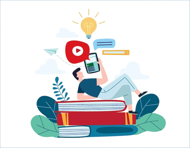 Education online illustration vector.internet studying concept