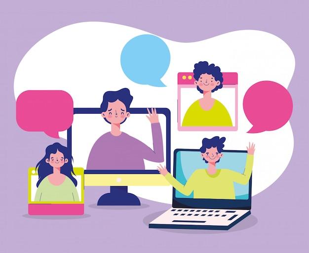Education online, laptop students cartoon characters talking bubbles