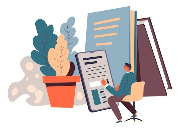 オンライン教育、ラップトップと本のベクトルを持つ男