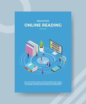 Formazione in linea di lettura di persone intorno a libro computer smartphone