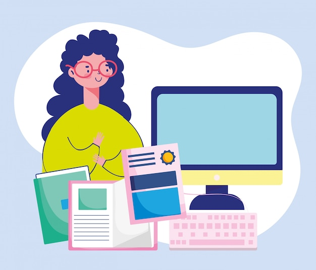 Education online, student girl certificate computer keyboard books