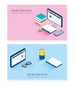 Education online technology with desktop and smartphone