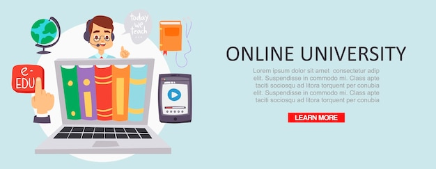 Education online university or training courses distance illustration.
