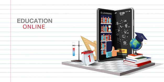 Education online on website and mobile application
