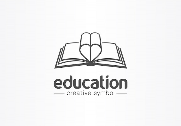 Education, open book with heart shape creative symbol concept. novel, love story, affair abstract business logo idea. learn, read icon.