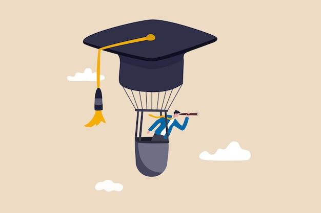 Образование или знания для карьерного роста, рабочие навыки для успеха в работе, изучение или изучение нового курса для концепции успеха в бизнесе, воздушный шар шляпы выпускника летать бизнесменом видеть будущее видение.