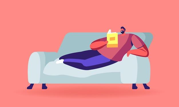 교육 또는 독서 취미 그림. 편안한 남자는 소파에 누워 책을 읽으십시오. 학생 시험 준비, 학교 또는 대학으로 돌아 가기