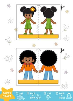 Education paper crafts for children boy and girl use scissors and glue to create the image
