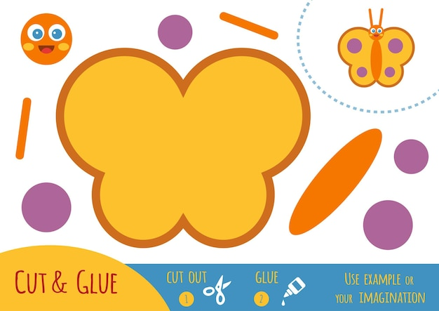 Education paper game for children, butterfly. use scissors and glue to create the image.