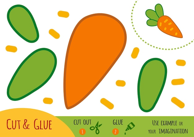 Education paper game for children, carrot. use scissors and glue to create the image.