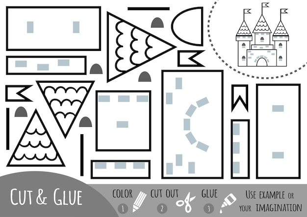 Education paper game for children, castle. use scissors and glue to create the image.