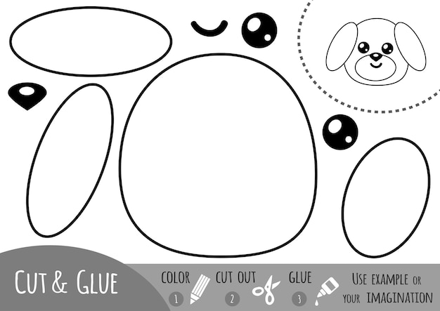 Education paper game for children, dog. use scissors and glue to create the image.