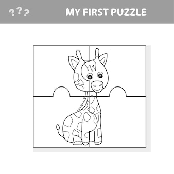 Education paper game for children, giraffe. create the image - my first puzzle and coloring book for kids