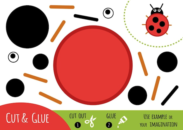 Education paper game for children, ladybug. use scissors and glue to create the image.