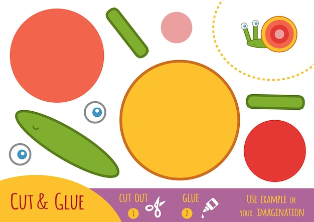 Education paper game for children, snail. use scissors and glue to create the image.