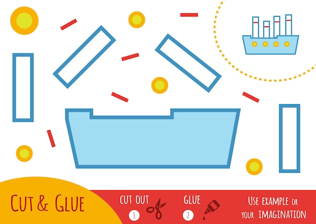 Education paper game for children, steamship. use scissors and glue to create the image.