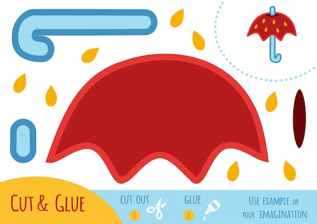 Education paper game for children, umbrella. use scissors and glue to create the image.