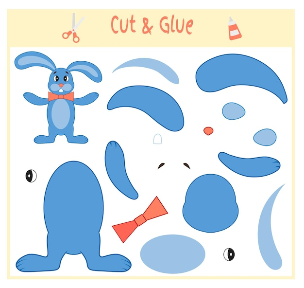 Education paper game for the development of preschool children. cut parts of the image and glue on the paper. vector illustration. use scissors and glue to create the applique. hare.