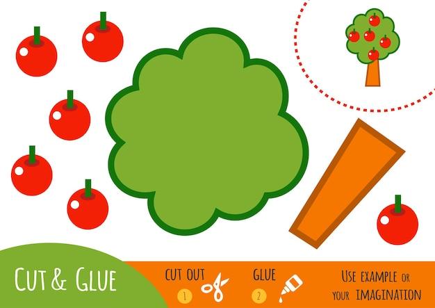 아이들을 위한 교육용 종이 게임, 사과나무. 가위와 풀을 사용하여 이미지를 만듭니다.